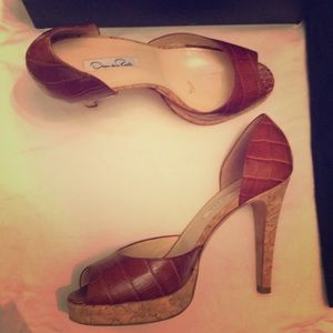 Oscar de la Renta peep-toe d'orsay platform heels